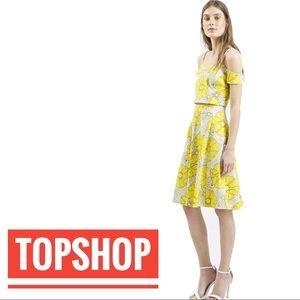 Topshop Sunrise Floral Print Midi A-Line Skirt